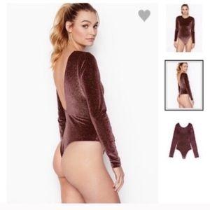 Victoria's Secret Glitter Velvet Low Back Bodysuit